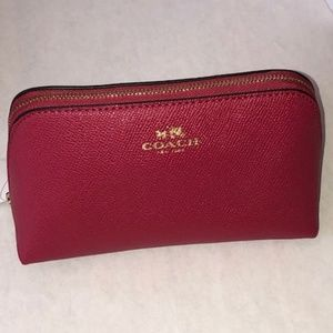 New Coach Leather Cosmetic Case 17 Bright Pink